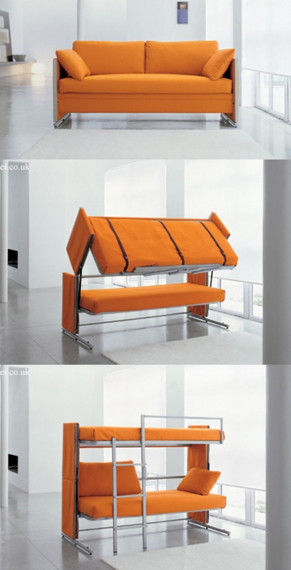 This crazy sofa that turns into a bunk bed actually exists for Couch that turns into a bunkbed