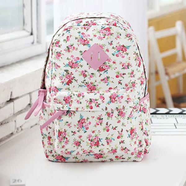 bag flowers flowers bag cute bag fashion backpack floral backpack floral roses