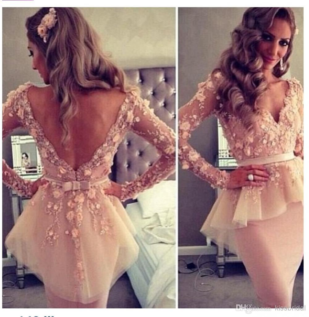 Cheap 2014 Evening Dresses - Discount 2014 Myriam Fares Sexy Sheer V Neck Long Sleeve Appliques Lace Sheath Knee Length Party Gowns Cheap Cocktail Dresses with Peplum Online with $102.83/Piece | DHgate