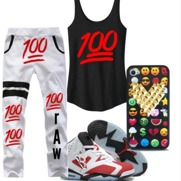 Shirt: 100 emoji, jordans, iphone case, tank top, joggers ...