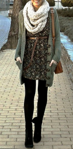 floral print dress sweater winter fashion oversized cardigan black suede booties satchel beige scarf