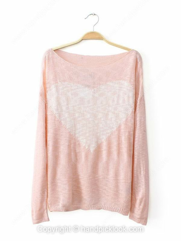 top woman sweater pink sweater heart pastel pink