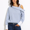 Blue striped fold over asymmetric shoulder contrast cuff blouse -shein(sheinside)