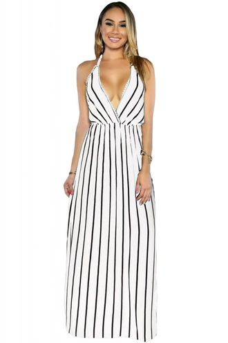 dress maxi chic cute girly wots-hot-right-now striped dress maxi dress plunge v neck black stripes summer summer party dress evening dress cocktail dress date dress halter top
