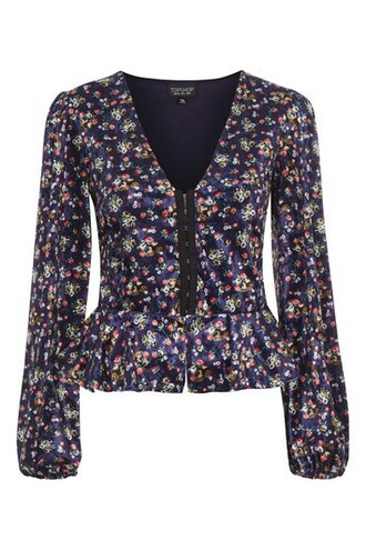 top floral navy print blue velvet