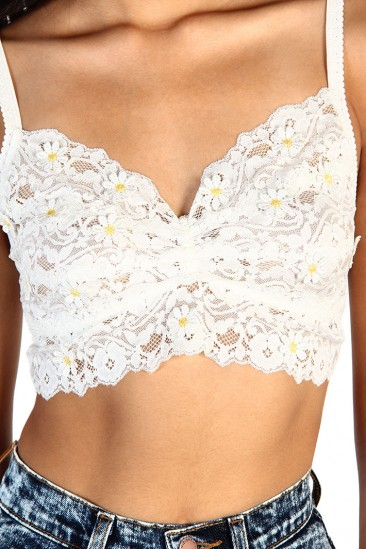 LoveMelrose.com From Harry & Molly | Daisy Lace Bra Top - White