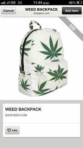bag,weed backpack,marijuana,old school,hippie,hipster,girly,tumblr,denim,shorts,crop tops,school bag,teenagers,miley cyrus,weed,backpack