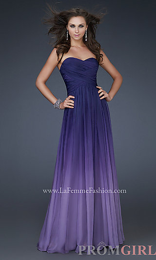 La Femme Gowns for Prom, Purple Gown Ombre, Ombre Dress- PromGirl