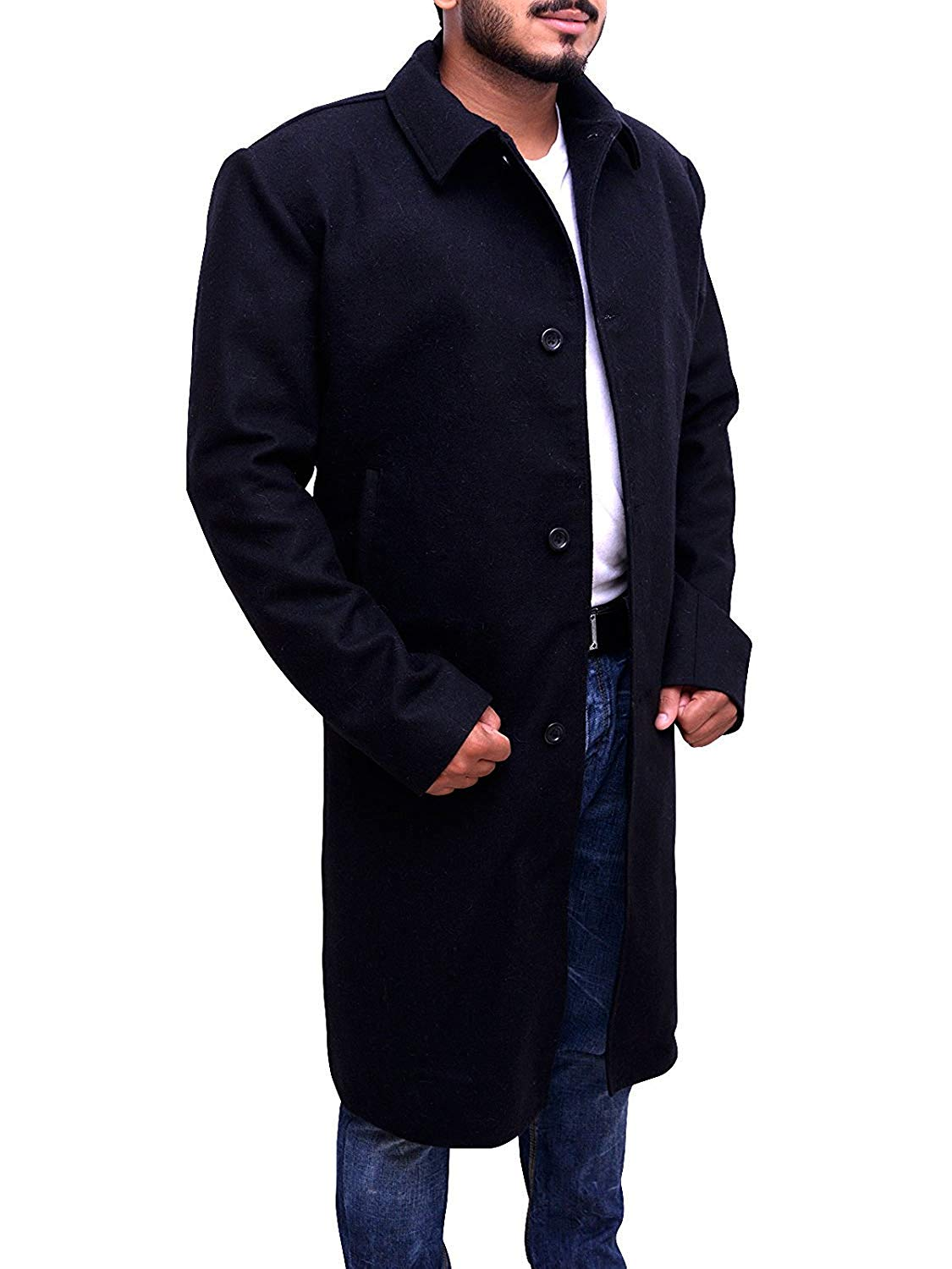 Trendhoop Justified Style Black Wool Long Trench Coat Warm Jacket at Amazon Men's Clothing store: