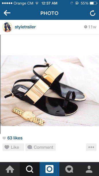 shoes black and gold