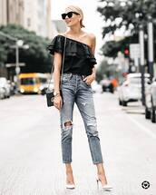 top,tumblr,black top,ruffle,one shoulder,denim,jeans,blue jeans,ripped jeans,pumps,pointed toe pumps,high heel pumps,white heels,bag,shoes,fashionjackson,blogger,sunglasses,jewels