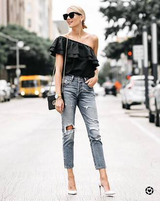 top tumblr black top ruffle one shoulder denim jeans blue jeans ripped jeans pumps pointed toe pumps high heel pumps white heels bag shoes