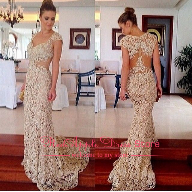 New Arrival Sexy Scoop Neck Short Sleeve Lace Long Evening Dress 2014 Custom Made A Line Court Train Prom Dress-in Evening Dresses from Apparel & Accessories on Aliexpress.com | Alibaba Group