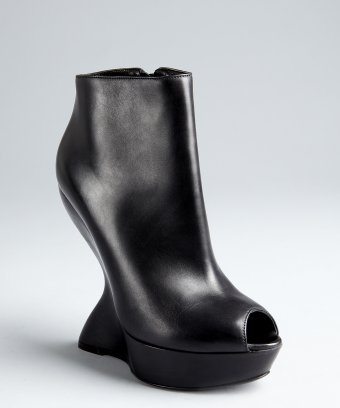 Alexander McQueen black leather sculpted cutout wedge platform ankle boots | BLUEFLY up to 70% off designer brands