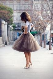 skirt,tulle skirt,brown,pretty,ruffle,ballerina,tutu,chiffon,dress,puffy skirt,beige,reallywant,light  brown,poofy skirt,grey