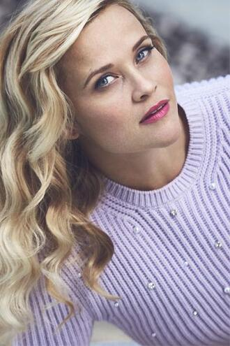sweater embellished lilac reese witherspoon editorial