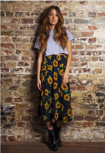 a70517b27e10 skirt, black, yellow, sunflower, sunflower skirt, maxi skirt, grunge ...