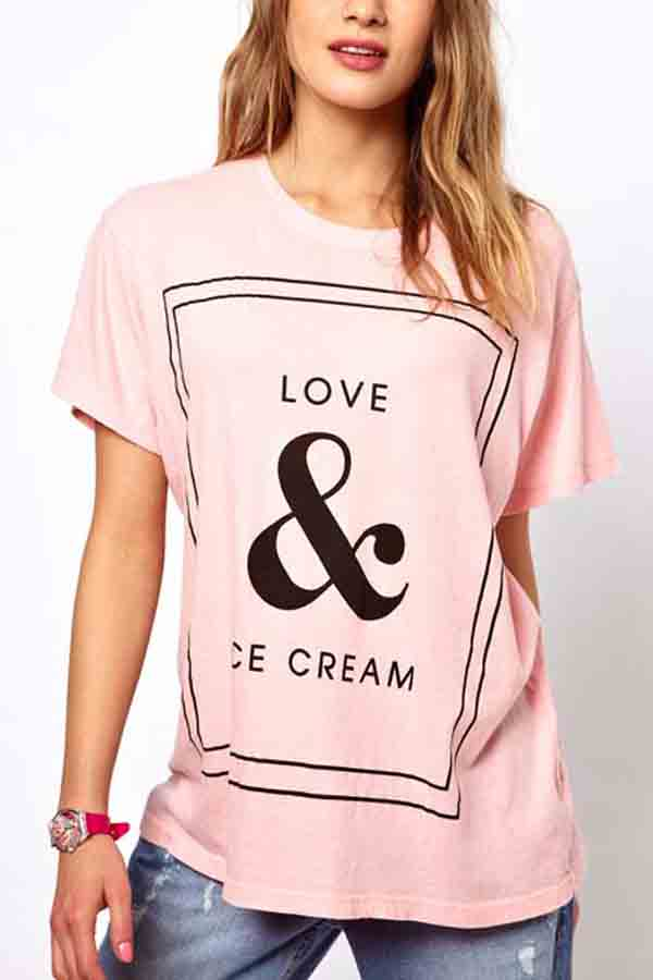 Love & ice cream printed short sleeve pink t