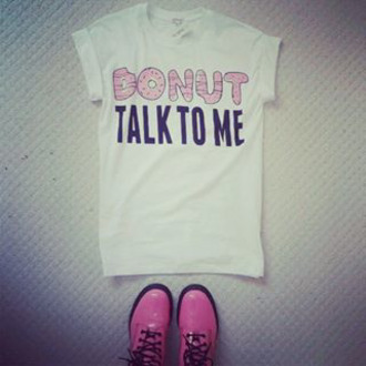 t-shirt donut funny t-shirt funny pink graphic tee