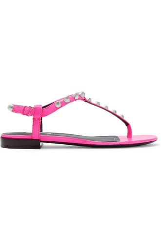studded neon sandals leather sandals leather pink bright shoes