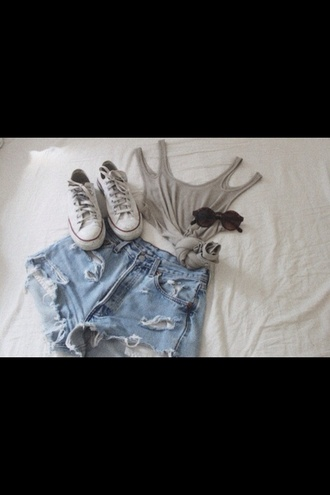 shirt shorts hipster alternative converse levi's grey black white outfit tumblr t-shirt tank top rayban sunglasses sneakers