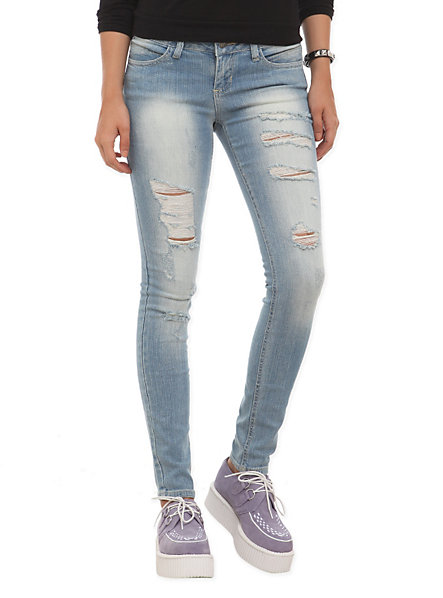 Light Blue Washed Distressed Skinny Jeans | Hot Topic