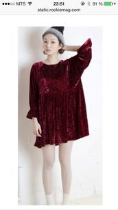 dress,velvet,dark red
