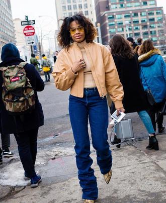 jacket tumblr nude jacket leather jacket streetstyle denim jeans blue jeans top turtleneck sunglasses