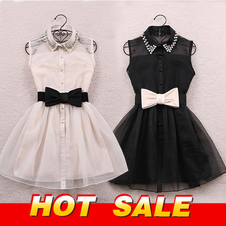 Aliexpress.com : Buy 2013 autumn winter pearl diamond lapel sleeveless chiffon Slim korean style gauze  Black designer dresses beige tutu Belt Free from Reliable belted tunic dress suppliers on linay wen's store