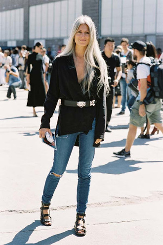vanessa jackman blogger blouse belt shoes long sleeves black top waist belt ripped jeans skinny jeans gladiators streetstyle streetwear