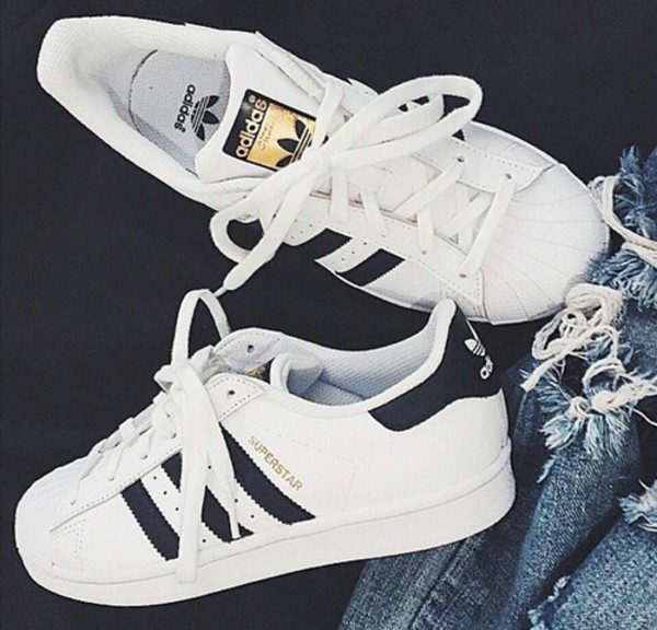 Adidas Originals White And Gold Shoes