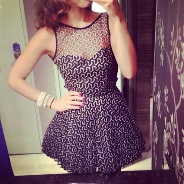 dress little black dress black white pattern tumblr