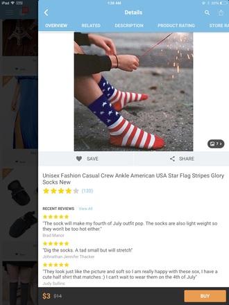 socks american flag unisex