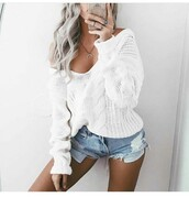 sweater,fall sweater,winter sweater,white sweater,outfit,outfit idea,summer outfits,fall outfits,spring outfits,cute outfits,date outfit,party outfits,off the shoulder,top,white top,summer top,cute top,long sleeves,clubwear,style,stylish,fashion,clothes,High waisted shorts,shorts,denim shorts,summer shorts,distressed denim shorts,high waisted denim shorts,ripped shorts,mini shorts,necklace,bottoms