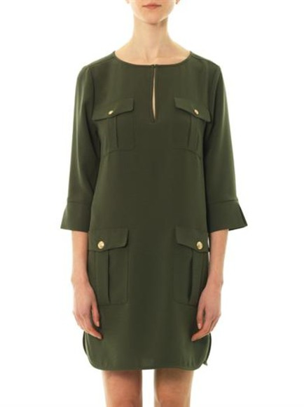 dress khaki mini dress diane von furstenberg agness dress