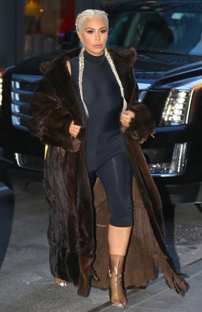 Leggings Top Bodysuit Kim Kardashian Coat Fur Coat