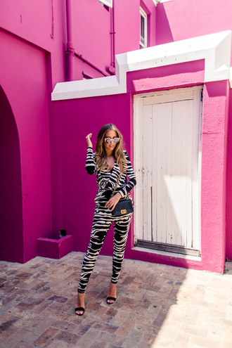 kenza blogger jumpsuit zebra print sandals sunglasses shoes bag jewels