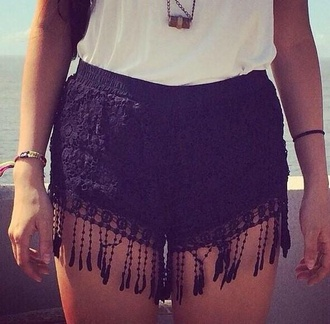 black lace fringe shorts black lace black shorts fringe shorts lace shorts crochet crochet shorts fringe lace crochet shorts fringes cute cute shorts summer summer shorts black hippie festival shorts