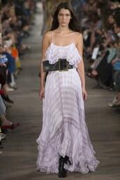 dress,philosophy di lorenzo serafini,belt,bella hadid,milan fashion week 2016,maxi dress,lilac