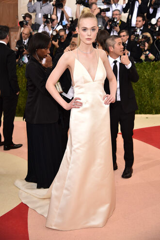 gown prom dress wedding dress elle fanning long prom dress red carpet dress met gala
