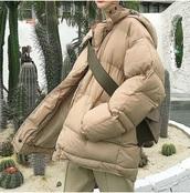 coat,padded jacket,tumblr,puffer jacket,nude