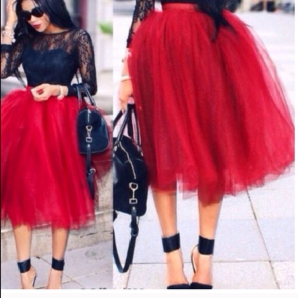 45ea253f34 59% off Dresses & Skirts - GORGEOUS RED TULLE SKIRT! ❤ from Finelife's  closet on Poshmark
