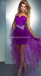 dress,mac duggal prom dresses,cute,high low prom dresses,purple,purple prom dresses,sequins,Cassandra Stone