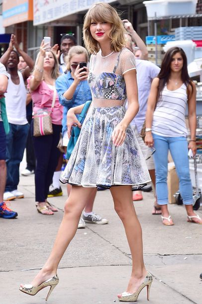 blue skirt taylor swift two-piece sheer see through dress