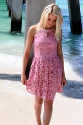 dress,summer,summer dress,beach,pink,dust pink,amazinglace,amazinglace.com,tan,blonde hair,cute,pretty,sun,rose,rose pink
