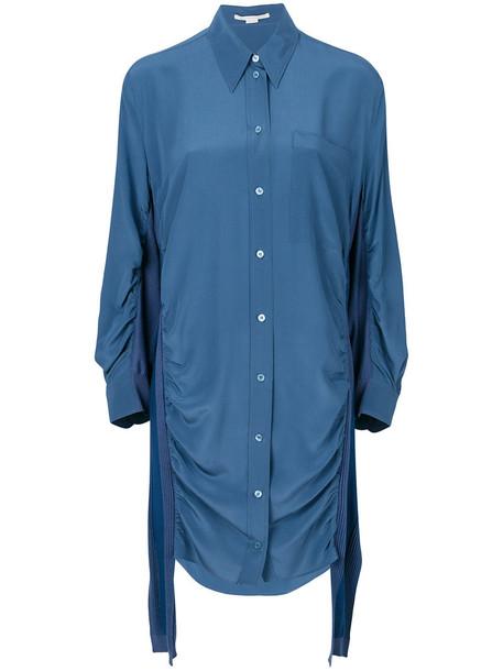 Stella McCartney dress shirt dress women blue silk