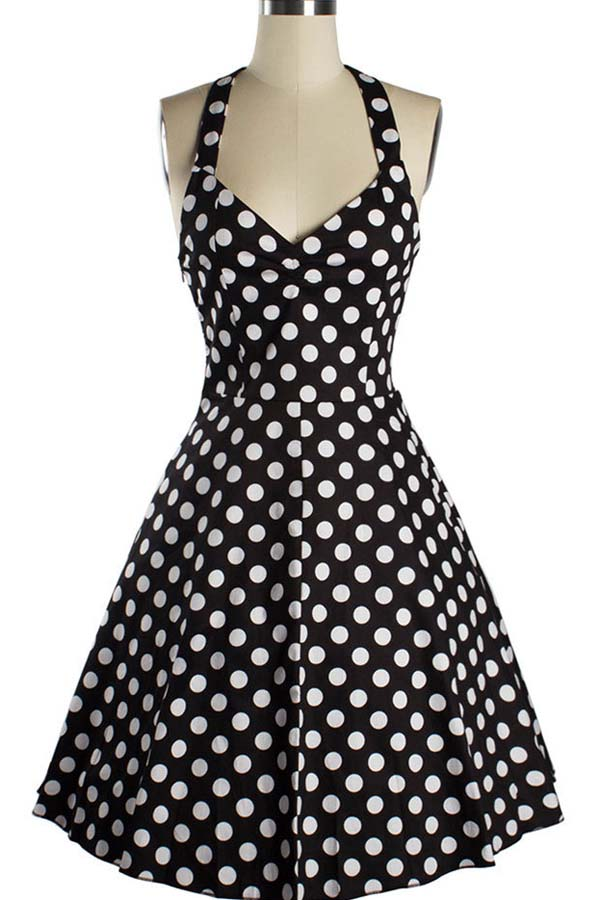 Polka Dot Halter Neckline Sexy Midi Dress