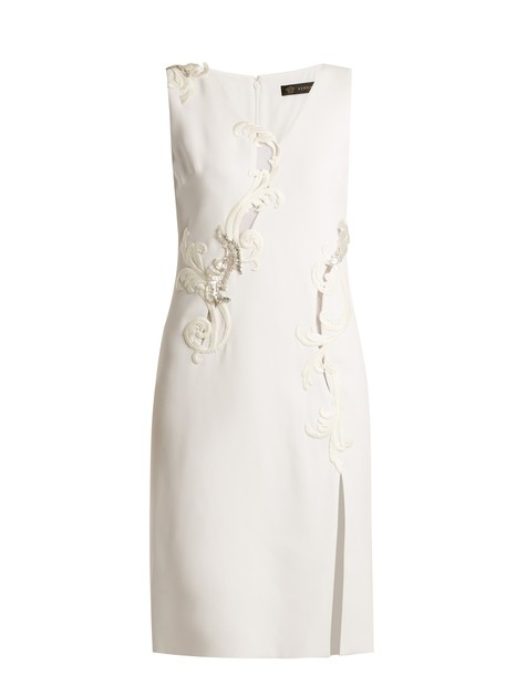 VERSACE dress sleeveless embroidered silk white