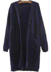 navy blue cardigan,blue cardigan,v neck cardigan,long line cardigan,loose fit cardigan,button front cardigan,two pocket cardigan,pocket cardigan sweater,www.ustrendy.com