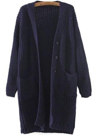 www.ustrendy.com navy blue cardigan blue cardigan v neck cardigan long line cardigan loose fit cardigan button front cardigan two pocket cardigan pocket cardigan sweater